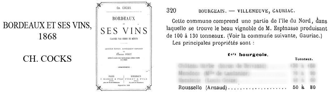 Référence 1er Bourgeois Cocks & Féret 1868.