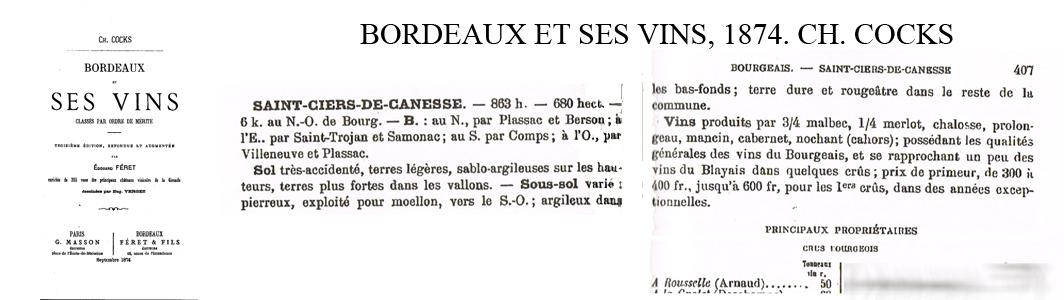 Référence 1er Bourgeois Cocks & Féret 1874.