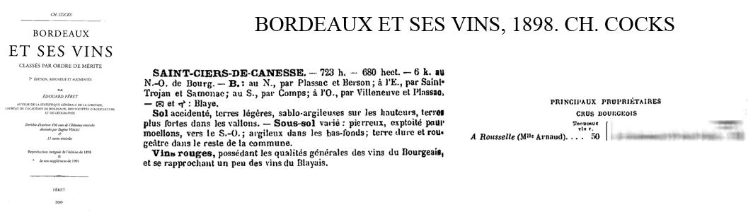 Référence 1er Bourgeois Cocks & Féret 1898.