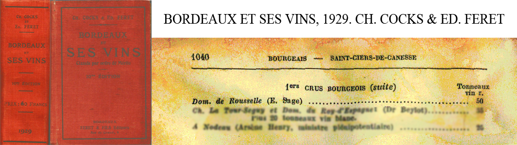 Référence 1er Bourgeois Cocks & Féret 1929.