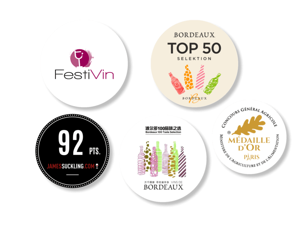 Médailles et récompenses de concours internationaux du vin de Bordeaux.